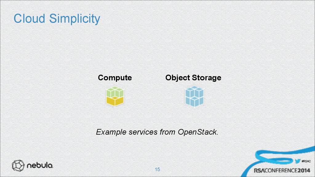 #RSAC Cloud Simplicity !15 Compute Object Stora...