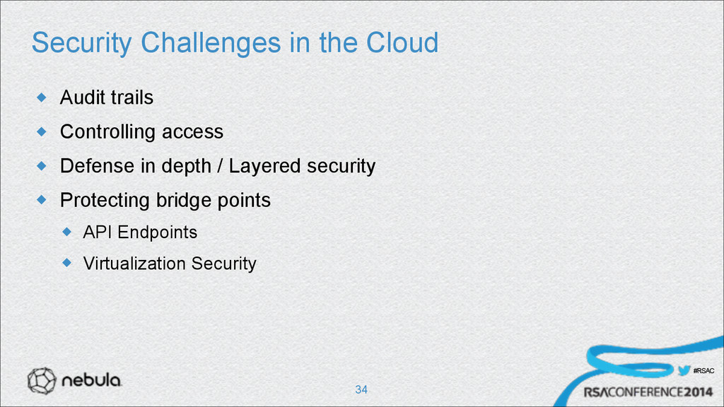 #RSAC Security Challenges in the Cloud u Audit...