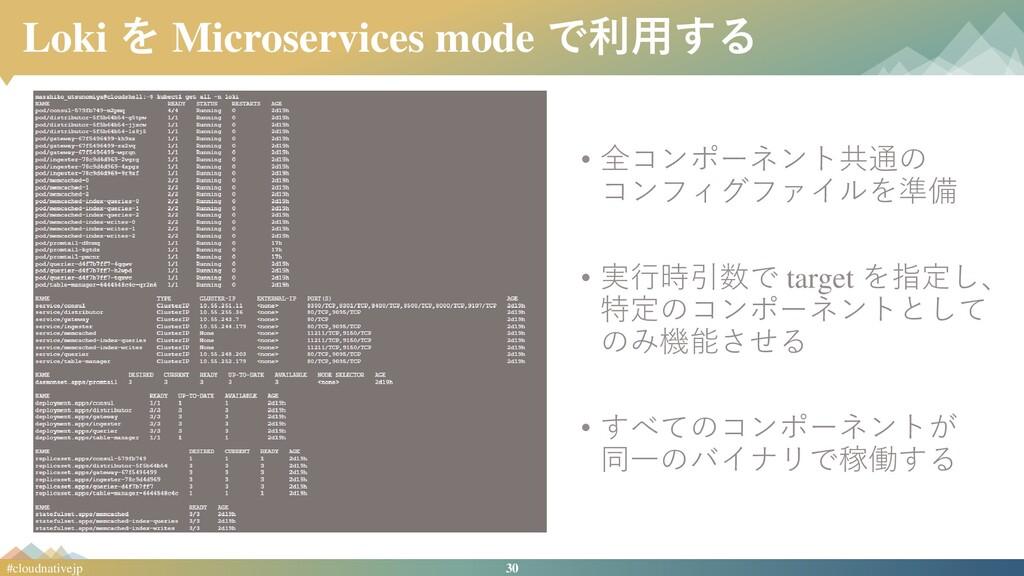 30 #cloudnativejp Loki を Microservices mode で利用...