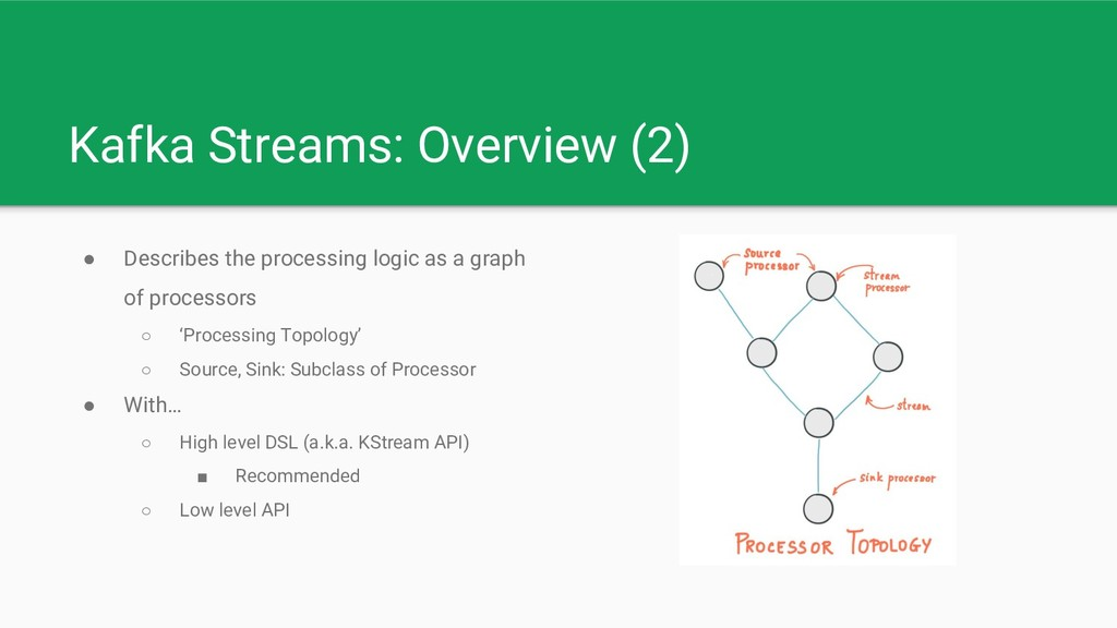 Kafka Streams: Overview (2) ● Describes the pro...