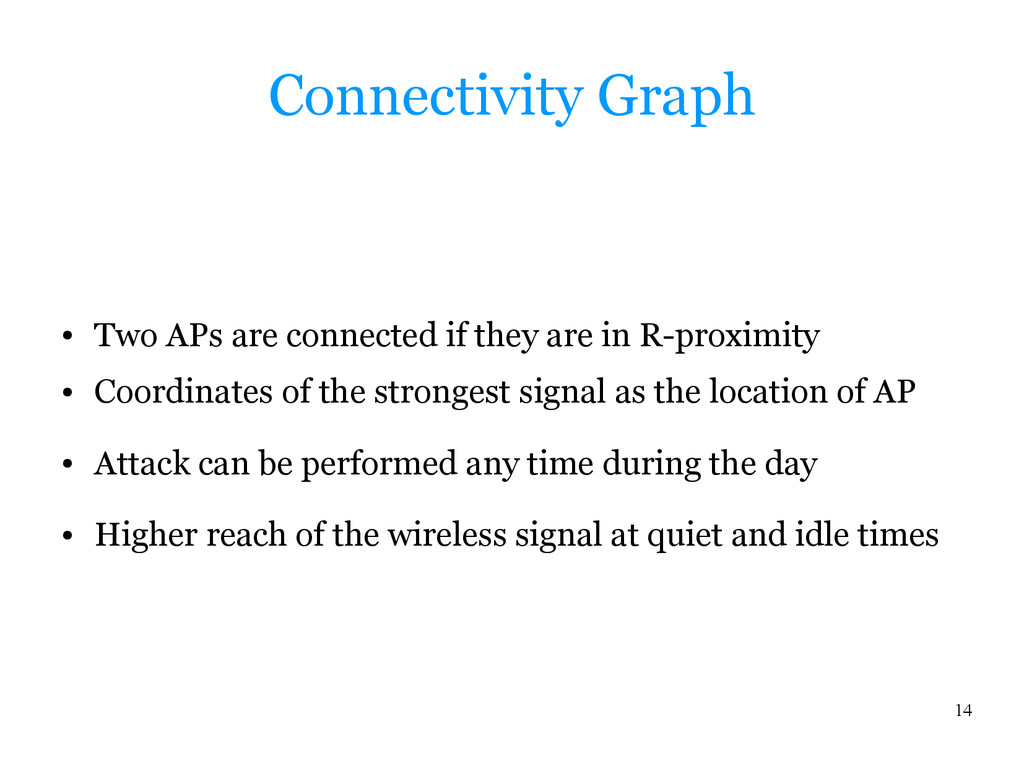 14 Connectivity Graph ● Two APs are connected i...