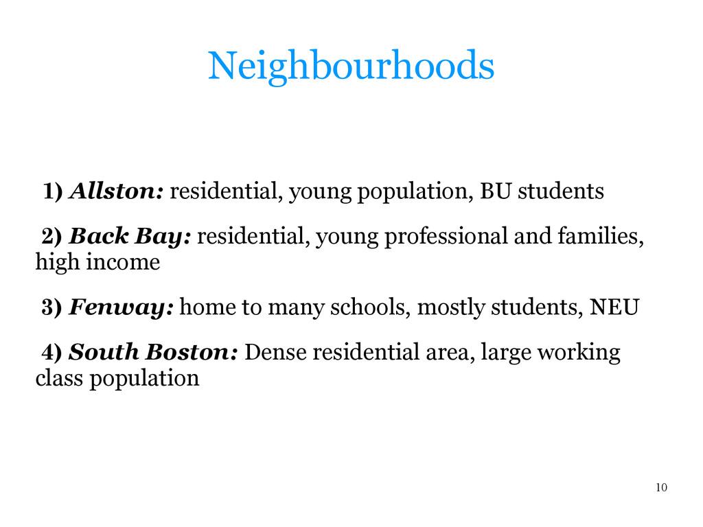 10 Neighbourhoods 1) Allston: residential, youn...