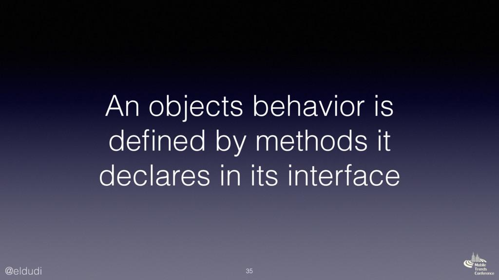 @eldudi An objects behavior is defined by method...