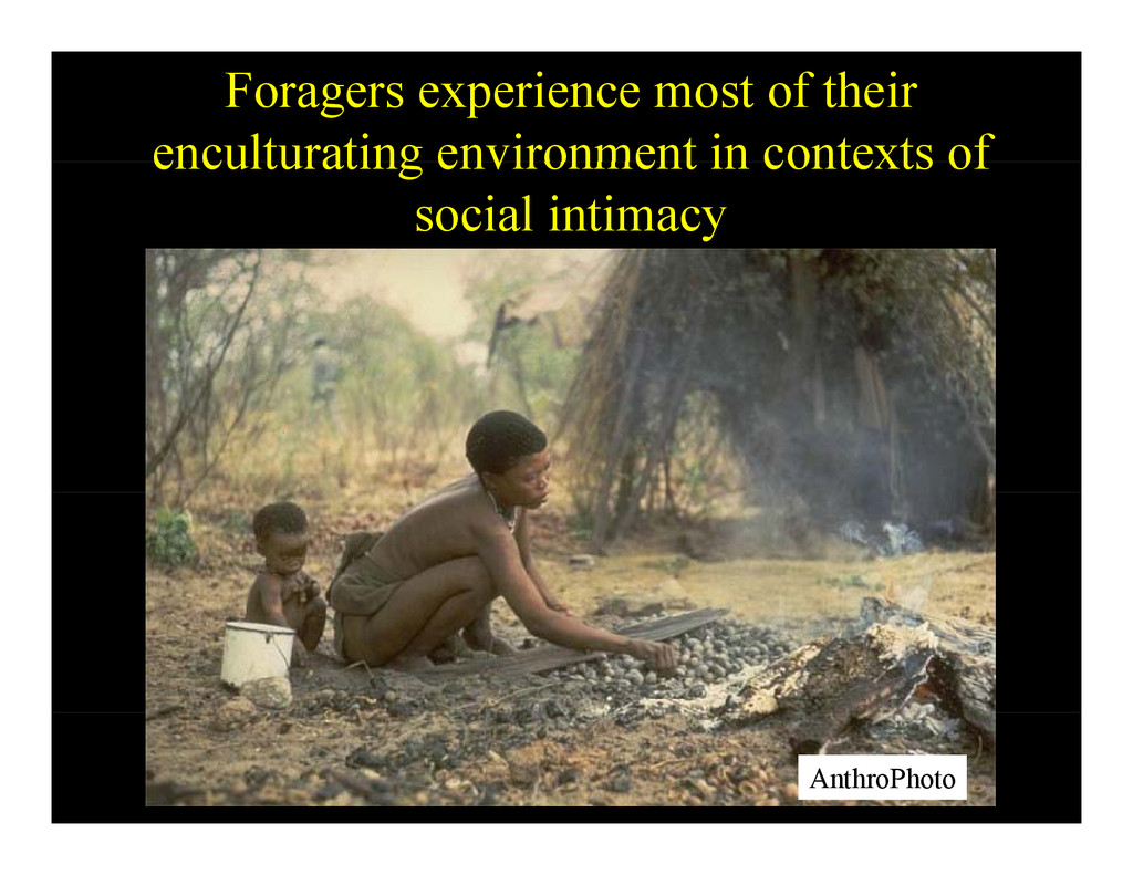 Foragers experience most of their enculturating...