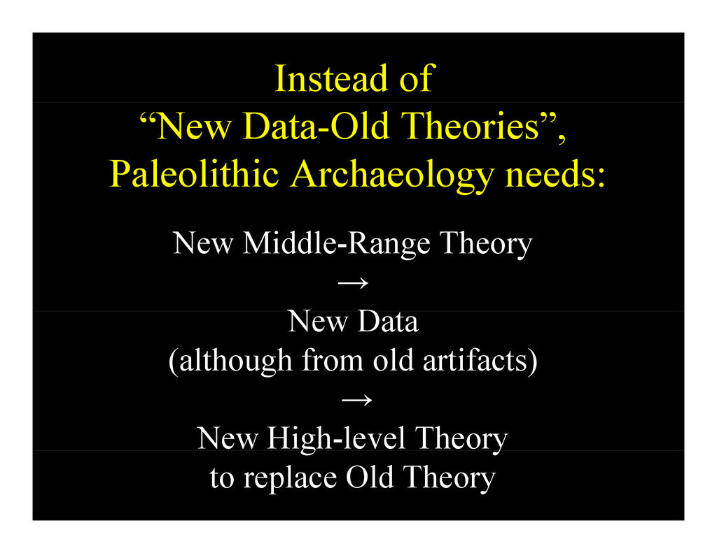 """Instead of """"New Data-Old Theories"""", Paleolithic..."""