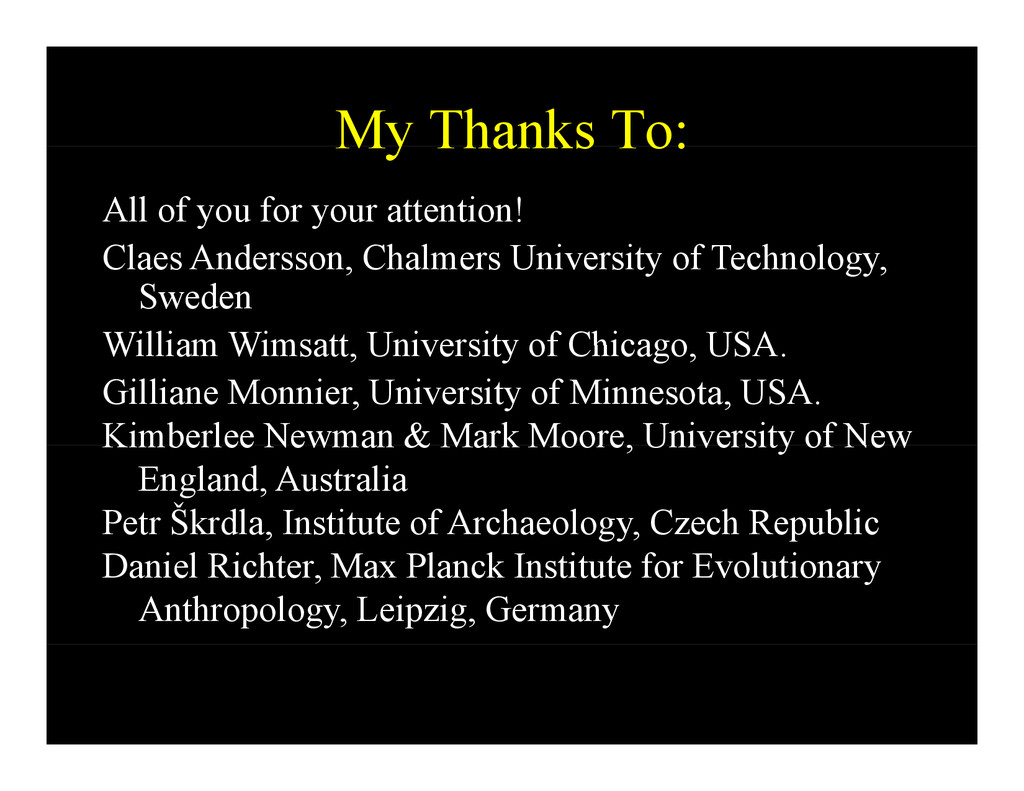 My Thanks To: My Thanks To: All of you for your...