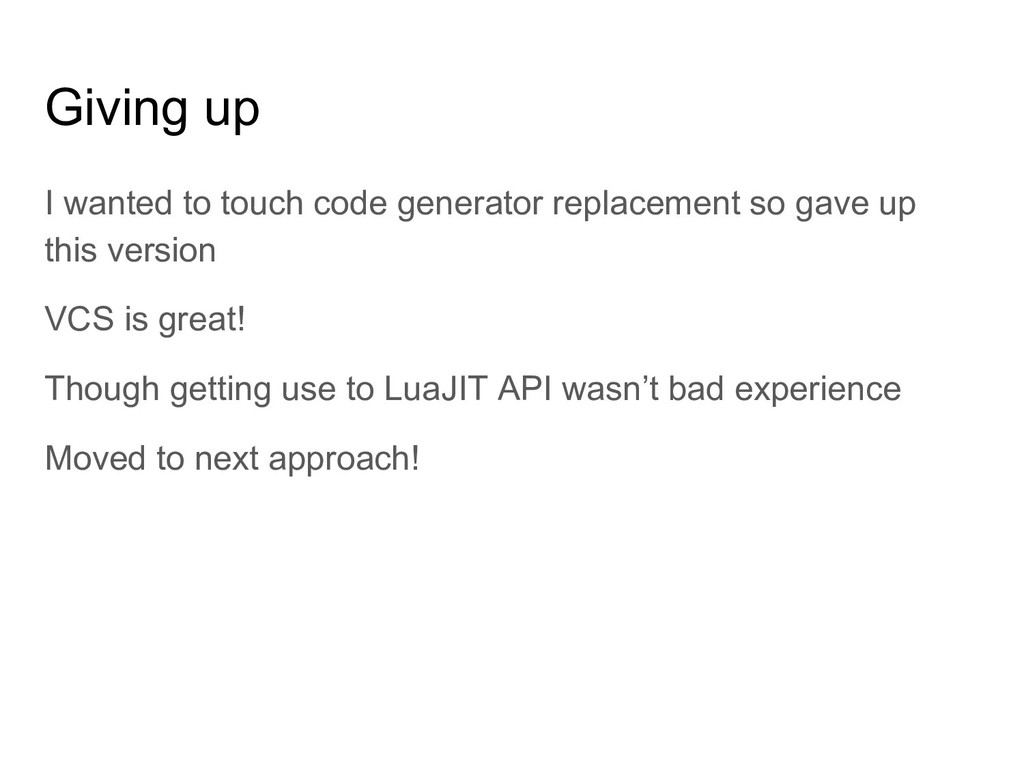 Giving up I wanted to touch code generator repl...