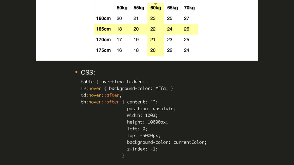 • CSS: table { overflow: hidden; } tr:hover {...