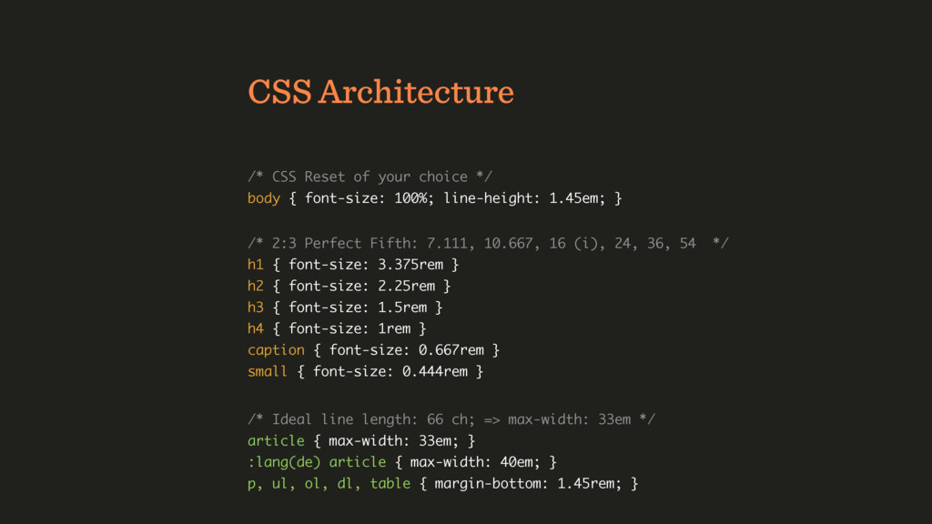 CSS Architecture /* CSS Reset of your choice */...