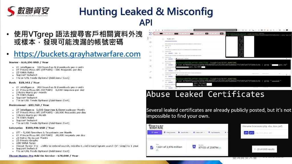 Hunting Leaked & Misconfig • 使用VTgrep 語法搜尋客戶相關資...