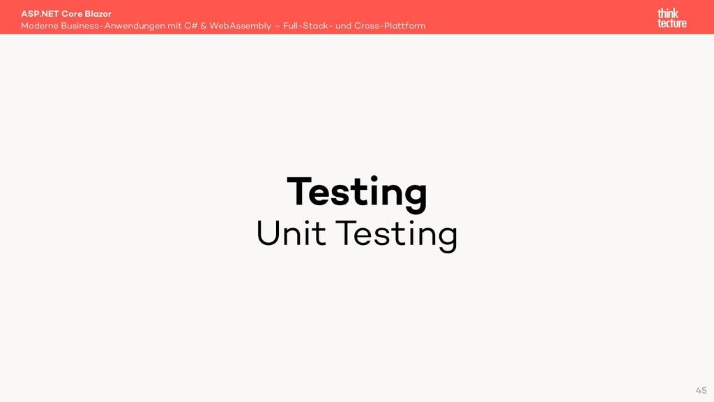 Testing Unit Testing Moderne Business-Anwendung...