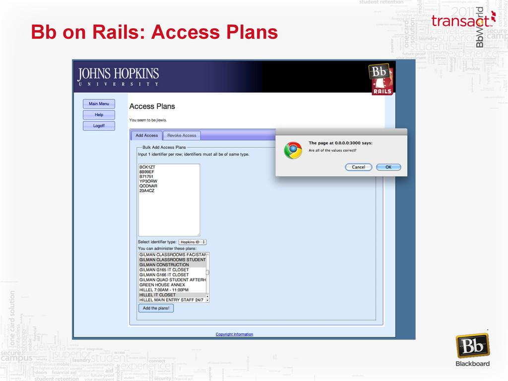 Bb on Rails: Access Plans