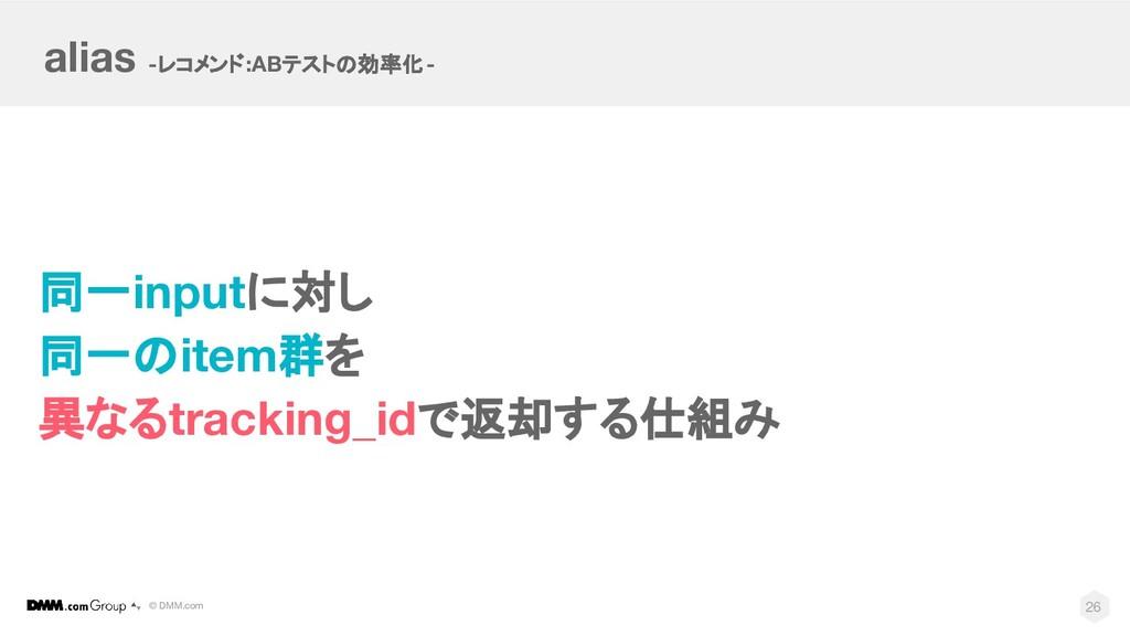 © DMM.com 同一inputに対し 同一のitem群を 異なるtracking_idで返...