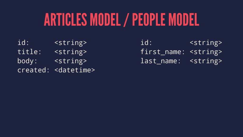ARTICLES MODEL / PEOPLE MODEL id: <string> id: ...