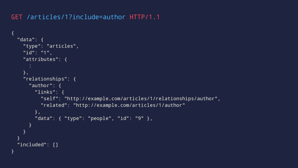 """GET /articles/1?include=author HTTP/1.1 { """"data..."""
