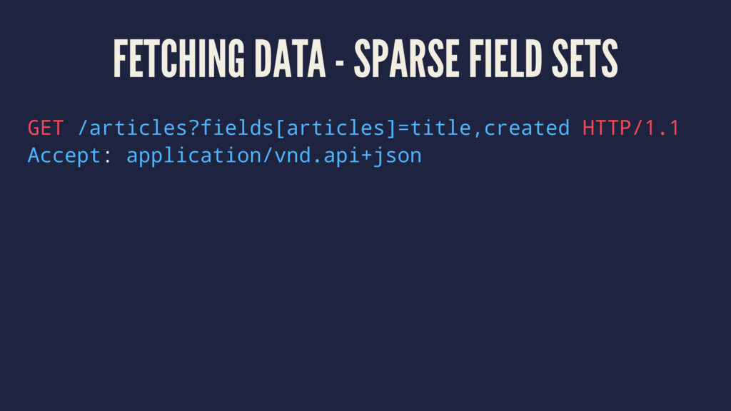 FETCHING DATA - SPARSE FIELD SETS GET /articles...