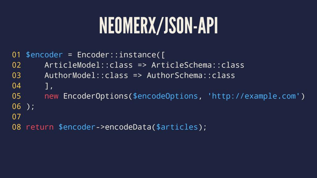 NEOMERX/JSON-API 01 $encoder = Encoder::instanc...