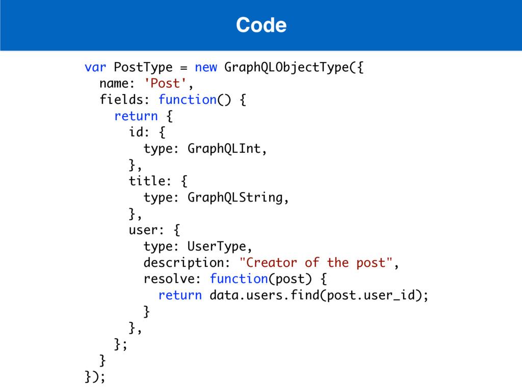 Code var PostType = new GraphQLObjectType({ nam...