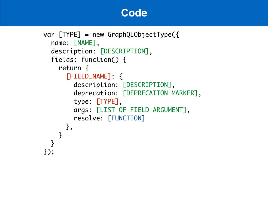 Code var [TYPE] = new GraphQLObjectType({ name:...
