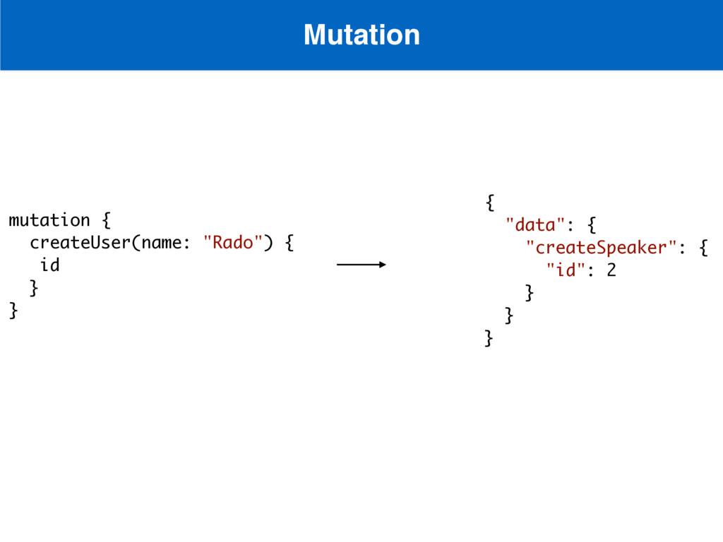 "Mutation  mutation { createUser(name: ""Rado"") ..."
