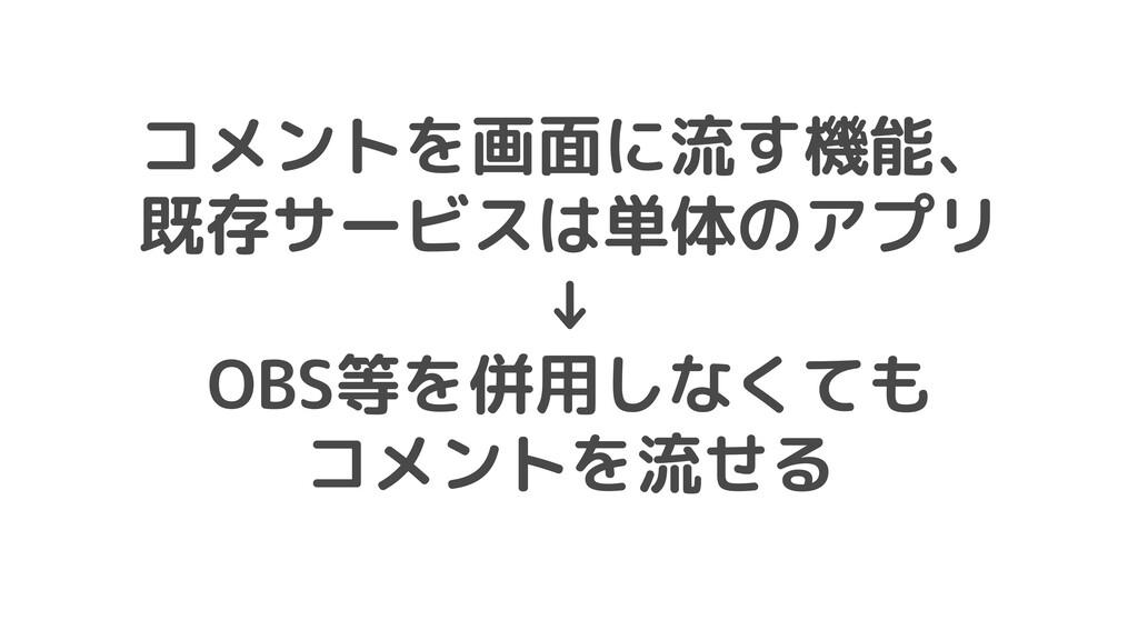 コメントを画面に流す機能、 既存サービスは単体のアプリ ↓ OBS等を併用しなくても コメント...