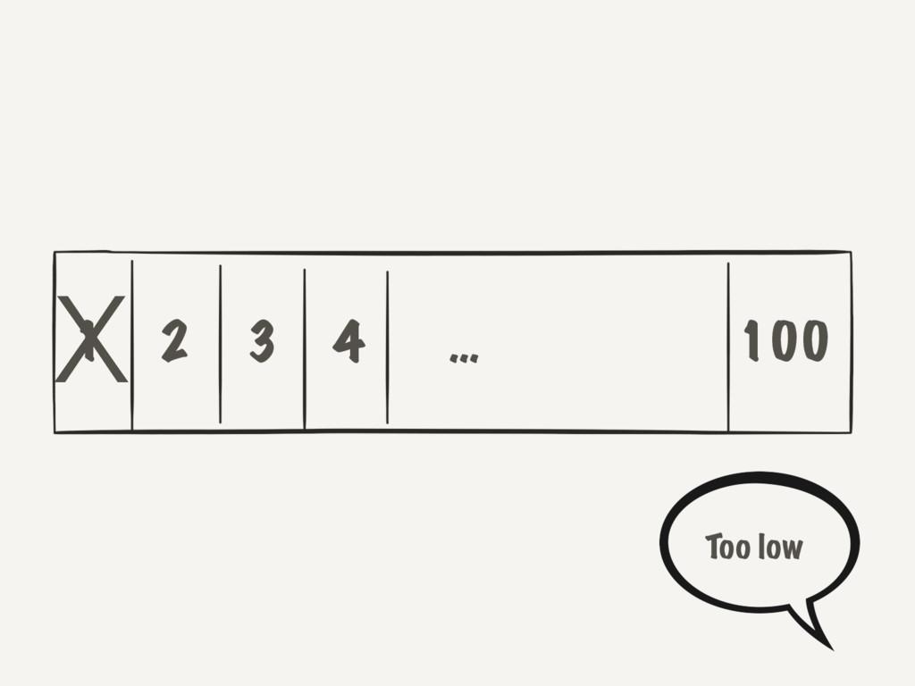 1 2 3 4 100 … X Too low