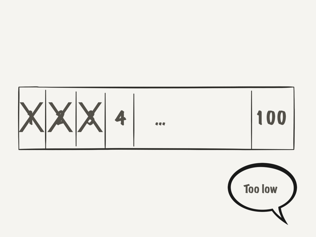 1 2 3 4 100 … XXX Too low