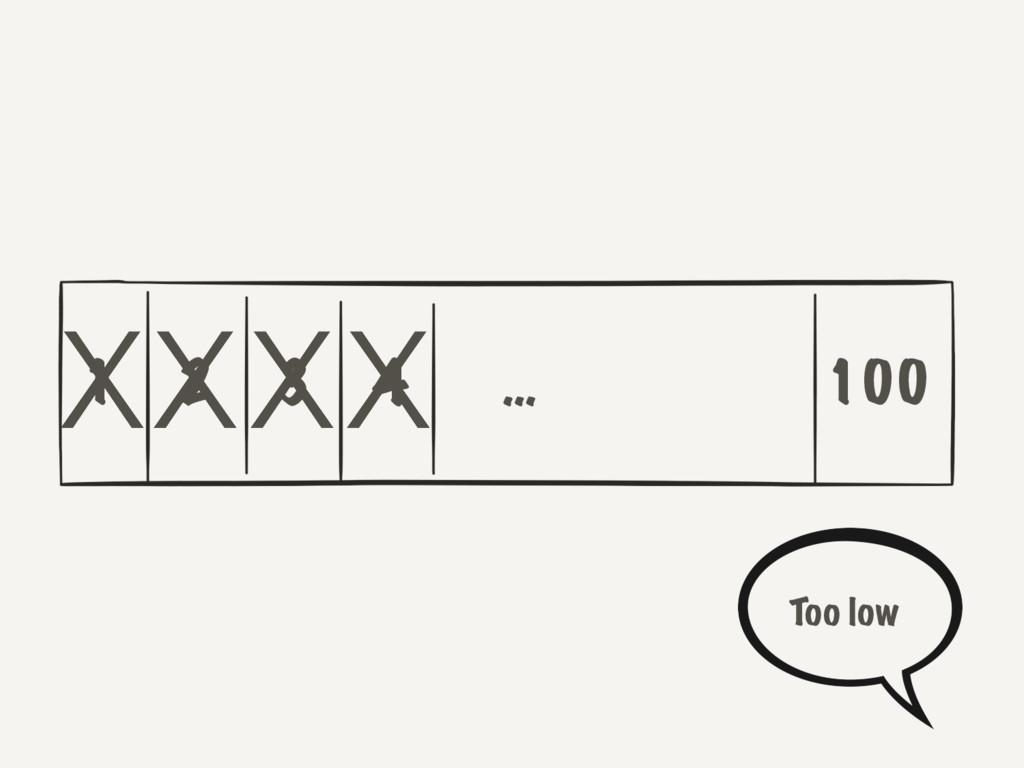 1 2 3 4 100 … XXXX Too low