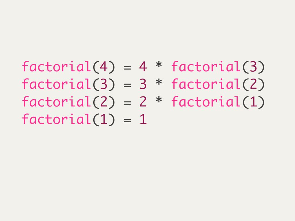 factorial(4) = 4 * factorial(3) factorial(3) = ...