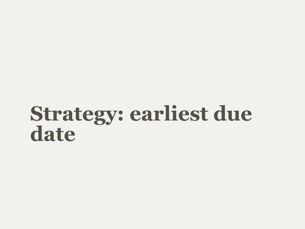 Strategy: earliest due date