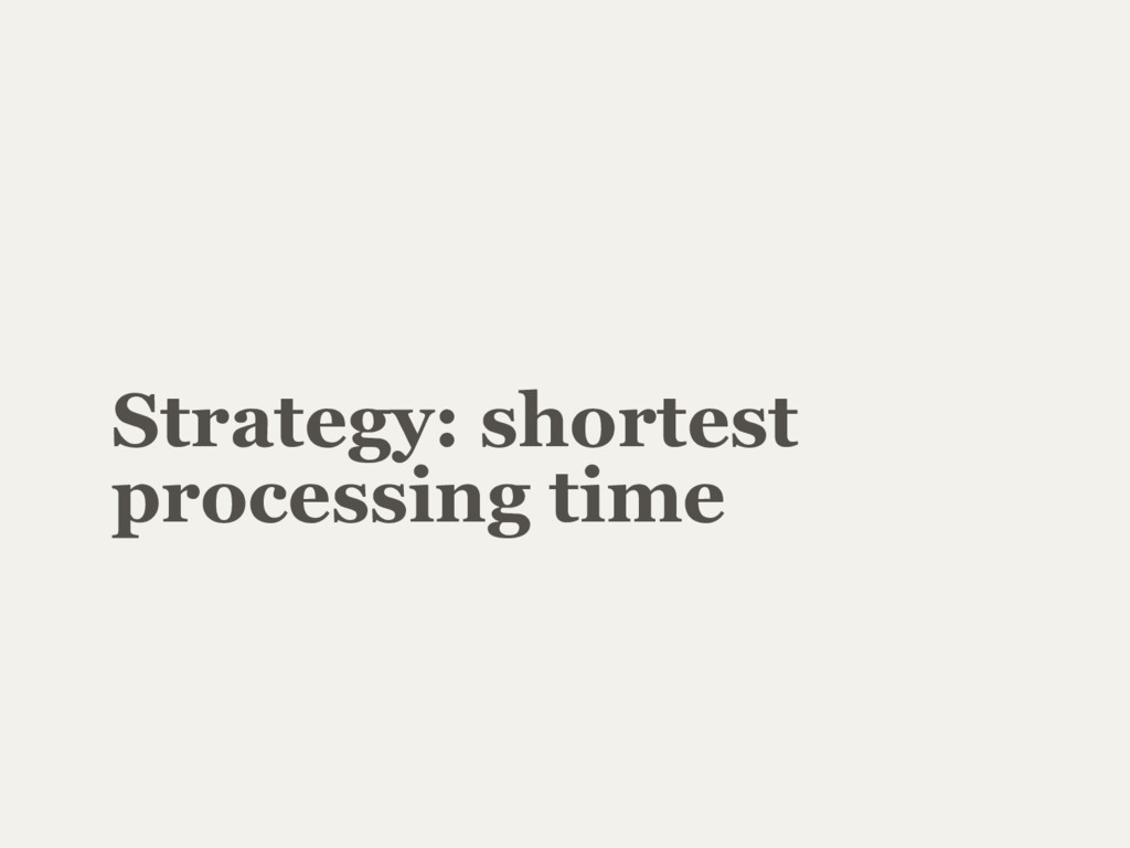 Strategy: shortest processing time