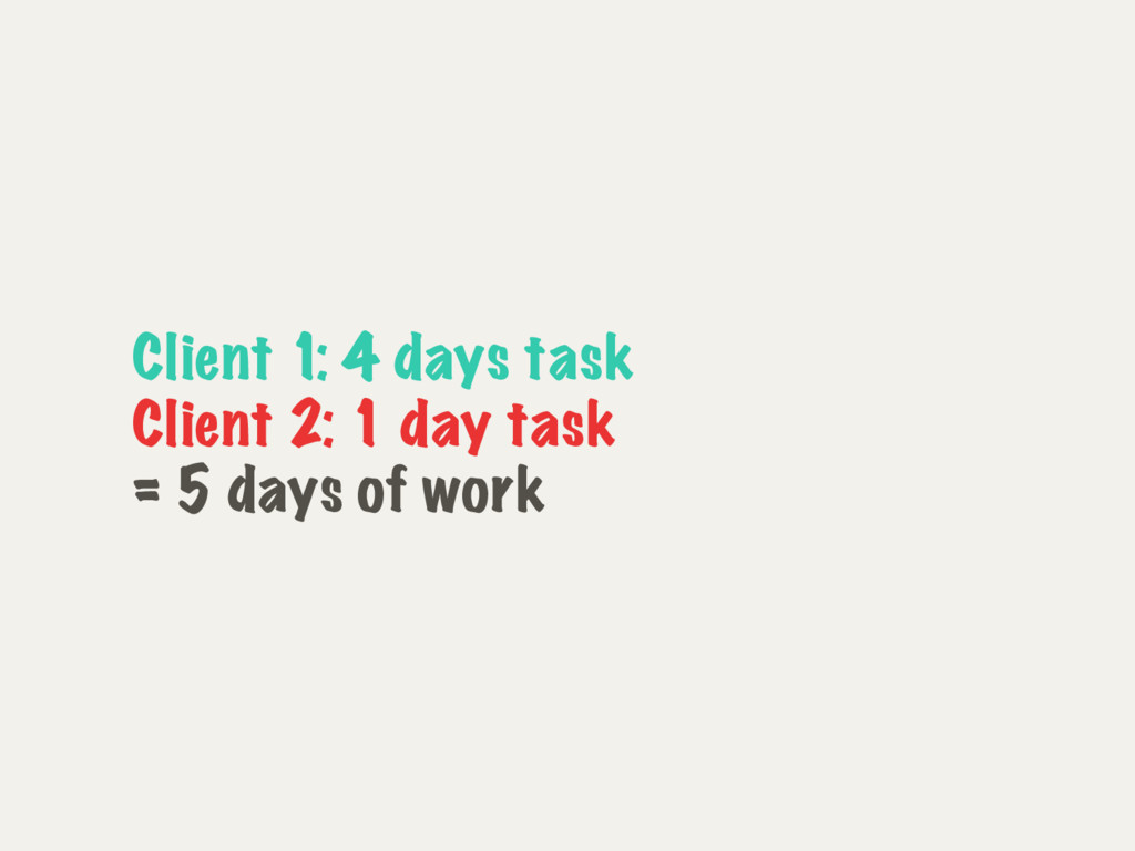 Client 1: 4 days task Client 2: 1 day task = 5 ...