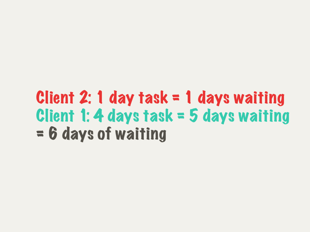 Client 2: 1 day task = 1 days waiting Client 1:...