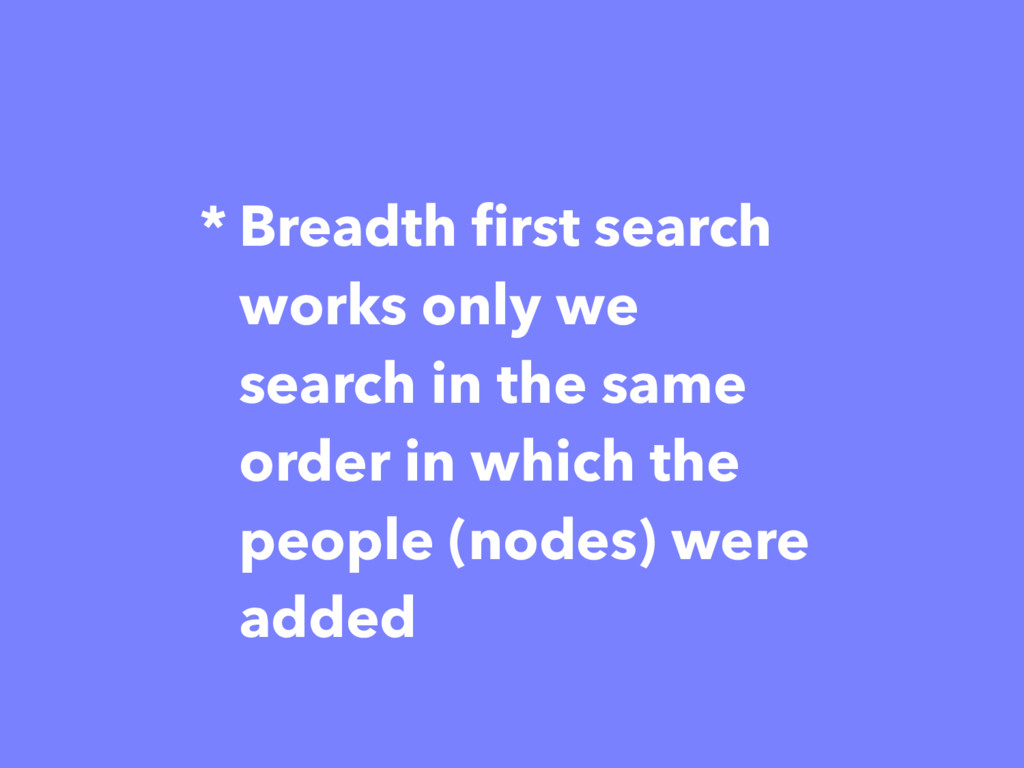 * Breadth first search works only we search in ...