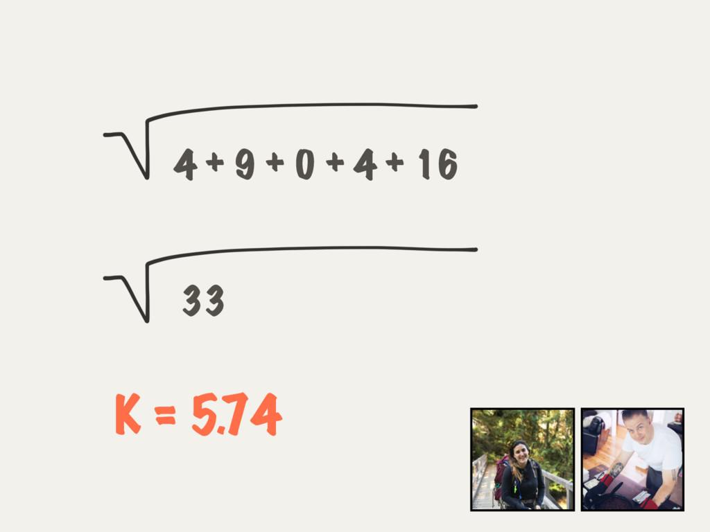 4 + 9 + 0 + 4 + 16 33 K = 5.74