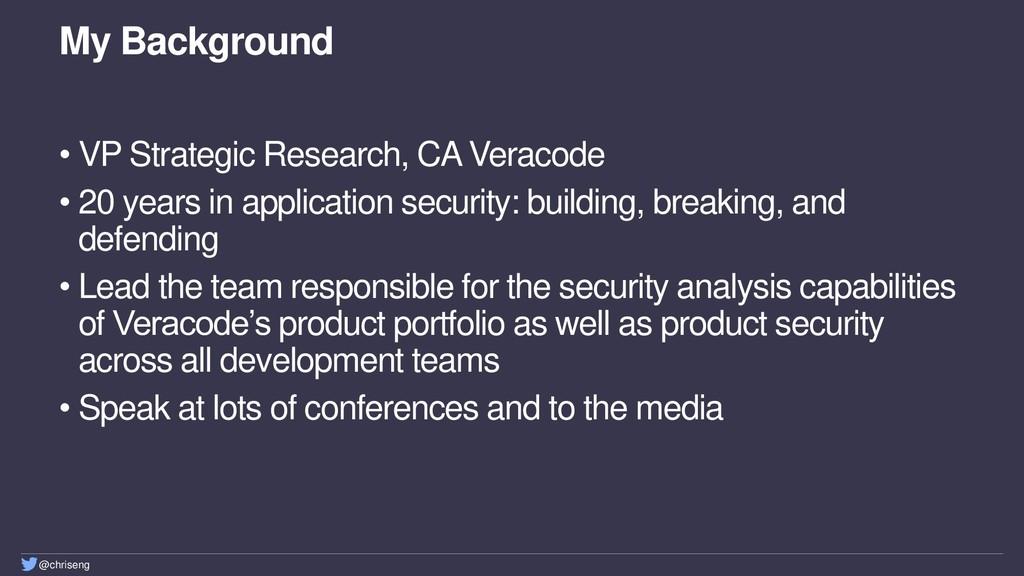 @chriseng My Background • VP Strategic Research...