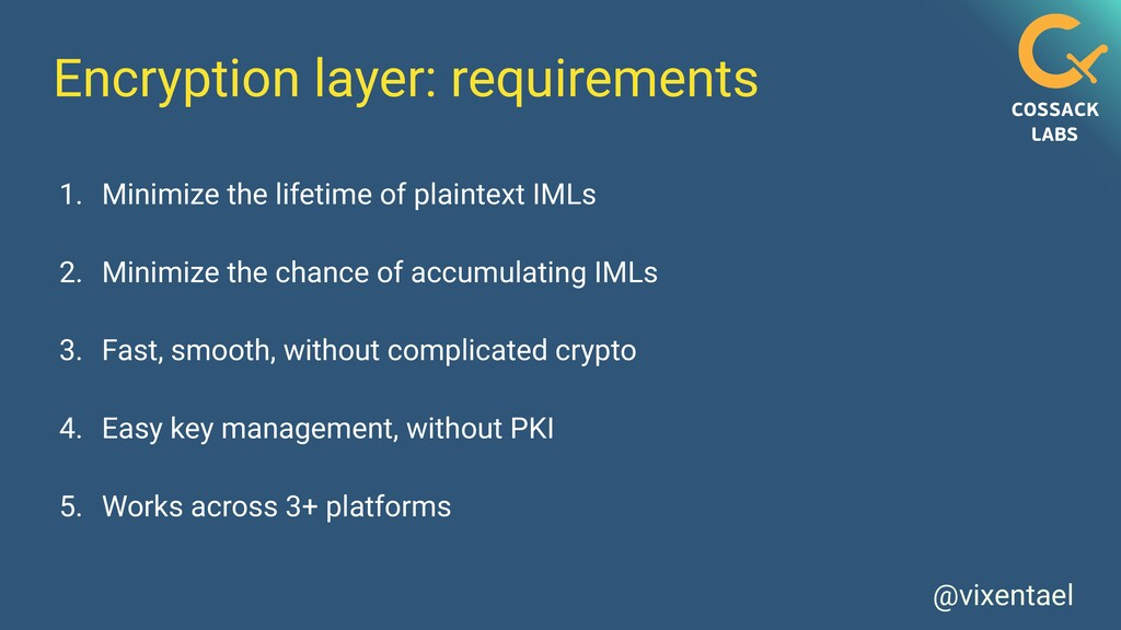 @vixentael Encryption layer: requirements 1. Mi...