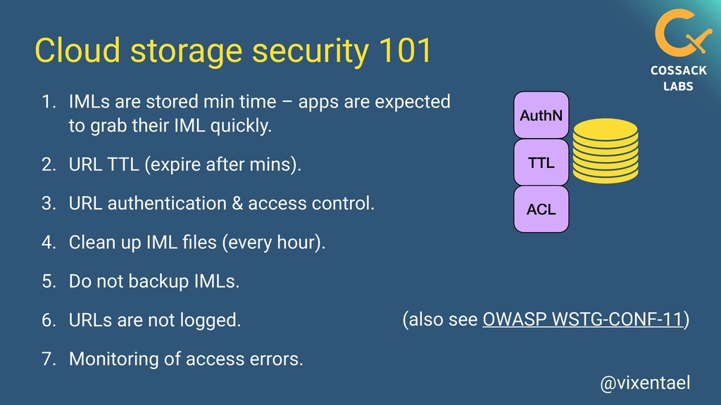 @vixentael Cloud storage security 101 AuthN TTL...