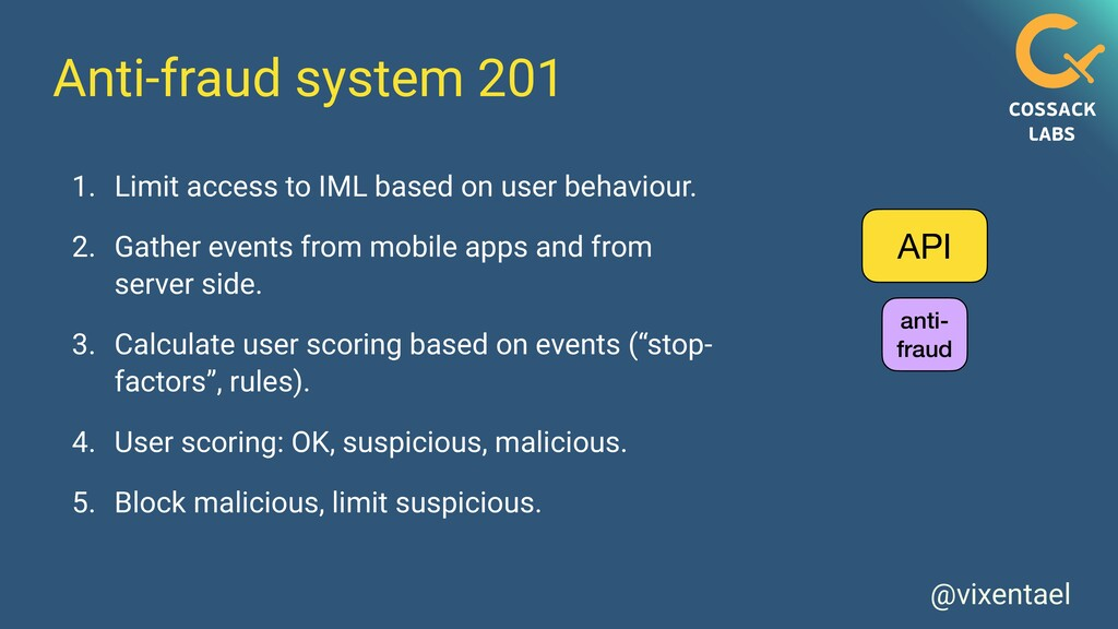 @vixentael Anti-fraud system 201 1. Limit acces...