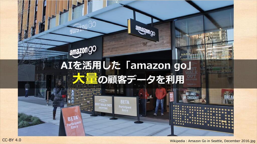 CC-BY 4.0 AIを活用した「amazon go」 大量の顧客データを利用 Wikipe...