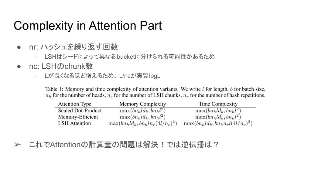 Complexity in Attention Part ● nr: ハッシュを繰り返す回数 ...