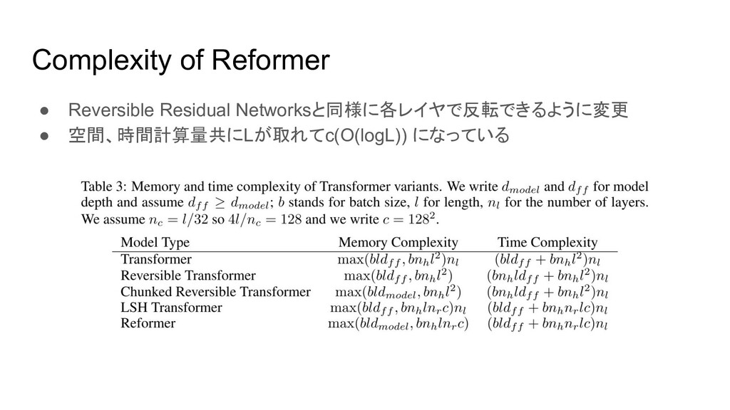 Complexity of Reformer ● Reversible Residual Ne...