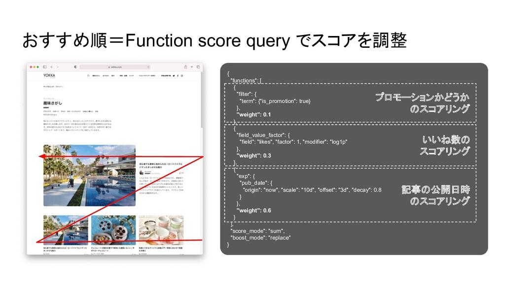 """おすすめ順=Function score query でスコアを調整 { """"functions..."""