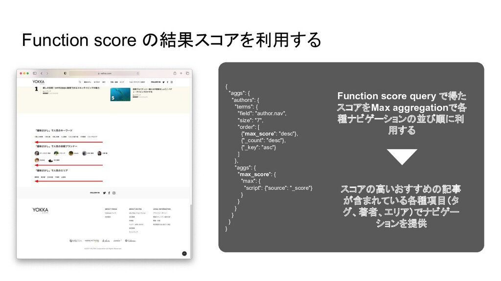 "Function score の結果スコアを利用する { ""aggs"": { ""authors..."