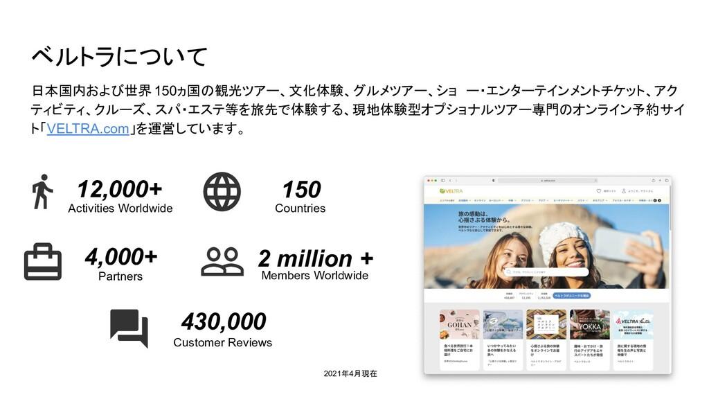 ベルトラについて 日本国内および世界 150ヵ国の観光ツアー、文化体験、グルメツアー、ショ ー...