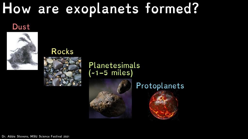 Dust Rocks Planetesimals (~1-5 miles) Dr. Abbie...