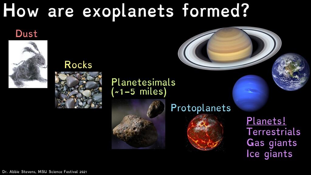 Dust Rocks Planetesimals (~1-5 miles) Planets! ...