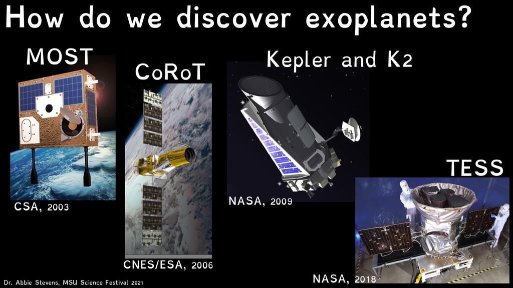 CSA, 2003 MOST NASA, 2009 Kepler and K2 CNES/ES...