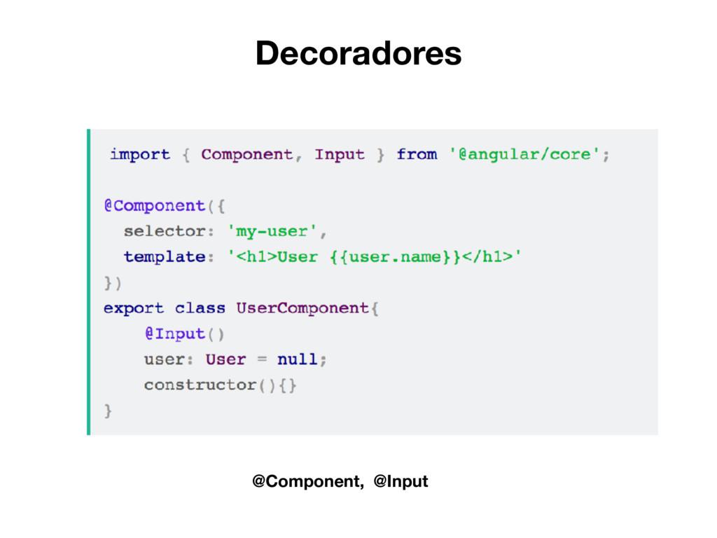 Decoradores @Component, @Input