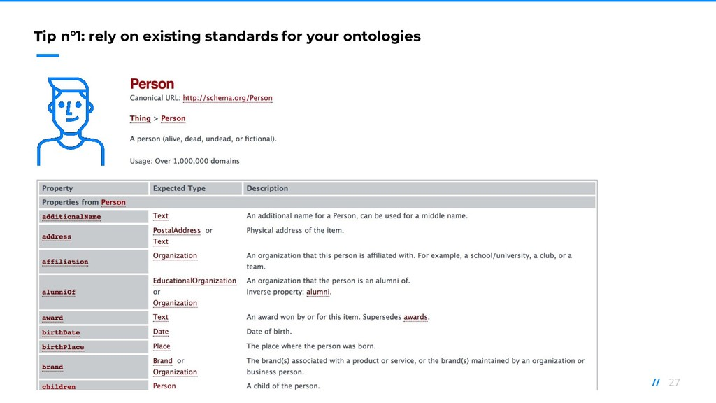 27 // Tip n°1: rely on existing standards for y...
